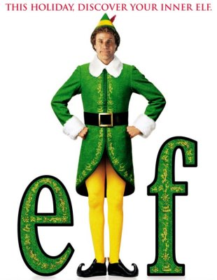 Poster of Buddy the 'elf' (William Ferrell) from the movie Elf but hes not rilly a Elf.